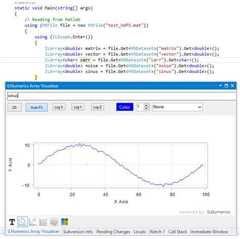 Read Mat Matlab by Hdf5 And Matlab Files In Ilnumerics