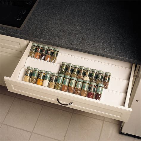 Kitchen Shelf Organization Ideas by Drawer Organizers Trimmable Drawer Spice Tray By Rev A