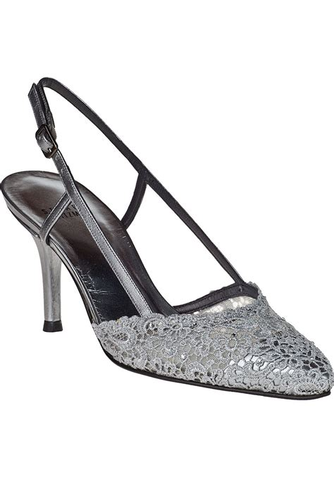 pewter colored heels stuart weitzman evening pumps pewter lace in metallic