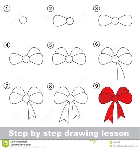 How To Draw Bows Step By Step drawing tutorial how to draw a bow stock vector