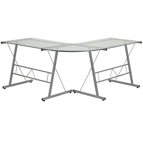 glass l shape computer desk with silver frame finish flash furniture glass l shape computer desk with silver