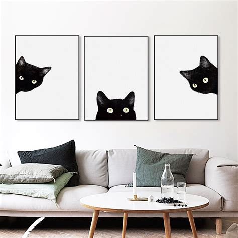cat wallpaper home decor modern kawaii animals black cats canvas art print poster