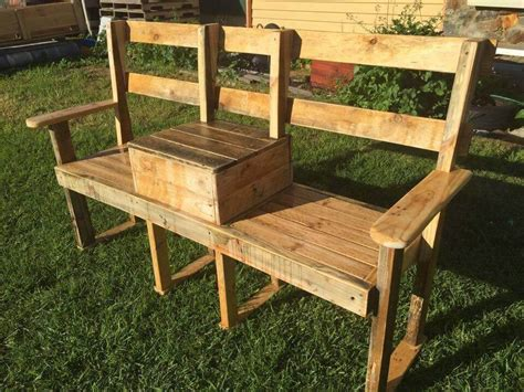 cooler bench diy pallet garden bench with cooler 101 pallets