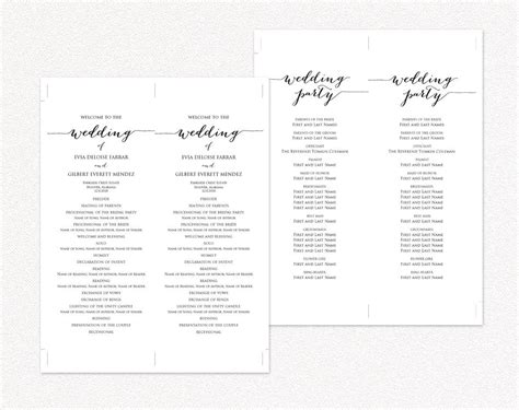 Wedding Program Templates 183 Wedding Templates And Printables One Page Wedding Program Template 2