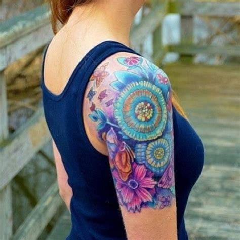 flower tattoo quarter sleeve beautiful vibrant half sleeve tattoos for women this one