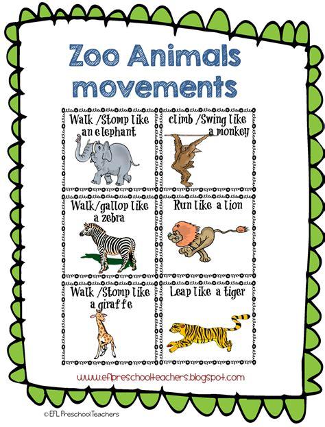 printable animal movement cards esl efl preschool teachers zoo animal theme for the