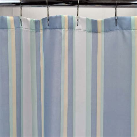 standard width of curtain fabric blue sonoma stripe fabric shower curtain standard size