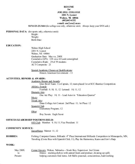 8 Sle College Resumes Pdf Doc Sle Templates High School Resume Template For College Application