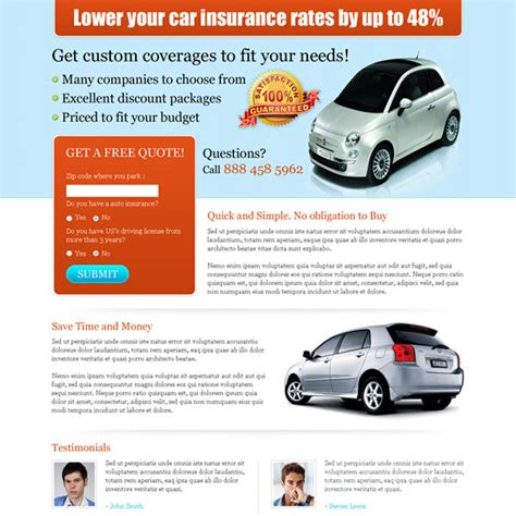 Low Car Insurance Quotes by Auto Insurance Landing Page Design To Capture Leads And