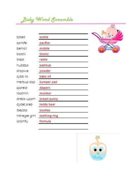 Baby Shower Word Scramble And Answers by Free Printable Baby Shower Scramble Word Answers Baby