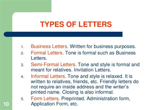 Different Kinds Of Business Letter According To Purpose notes how to write business letters