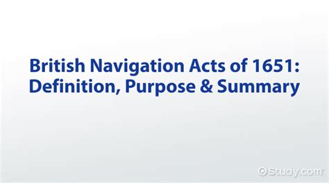 s day summary navigation acts of 1651 definition purpose