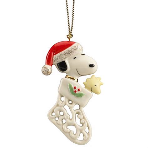lenox peanuts christmas pierced snoopy ornament woodstock