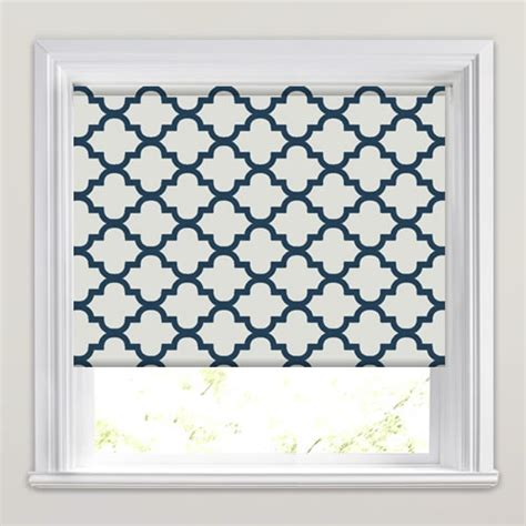 Bedroom Sizes Uk by Luxury Cream Amp Navy Blue Traditional Patterned Roller Blinds