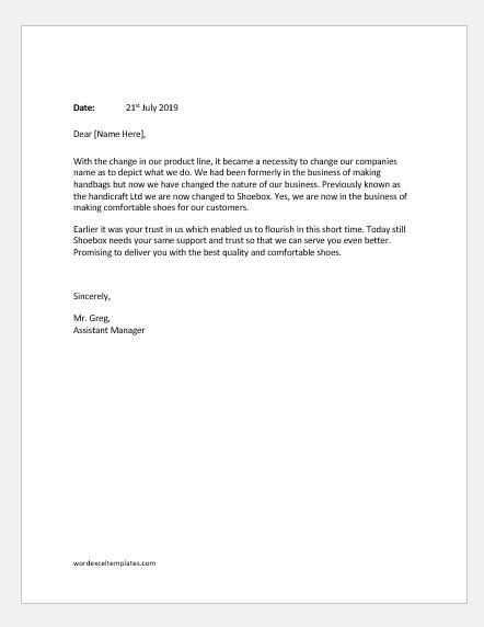 letters announcing customers company