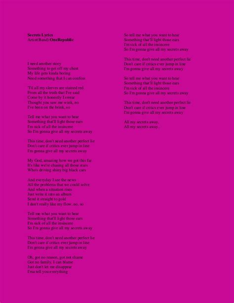 secret lyrics we the secrets lyrics