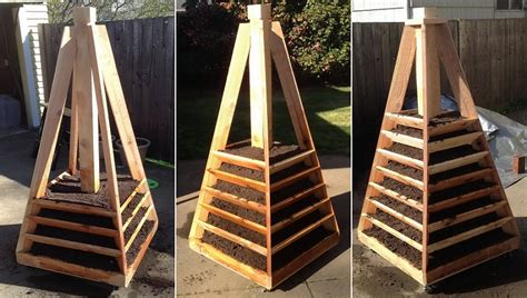 Wooden Pyramid Planter by Vertical Pyramid Garden Planter Diy Icreatived