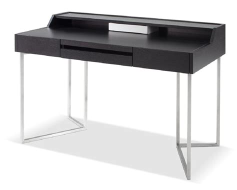 Dark Oak Contemporary Office Desk With Chrome Legs And Modern Desk Legs