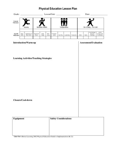 lesson plan template for pe best photos of physical education lesson plan template