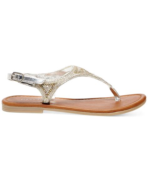 beaded flat sandals madden riddlee beaded flat sandals in metallic