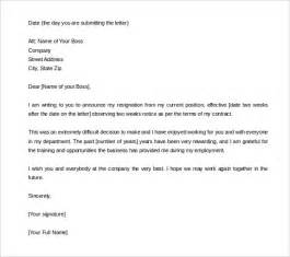 2 weeks notice resignation letter exle two weeks notice letter 31 free word pdf documents