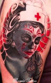 nurse day of the dead sugar skull tattoo tattoos