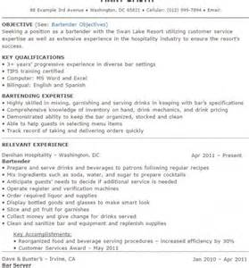 bartender resume sles and tips