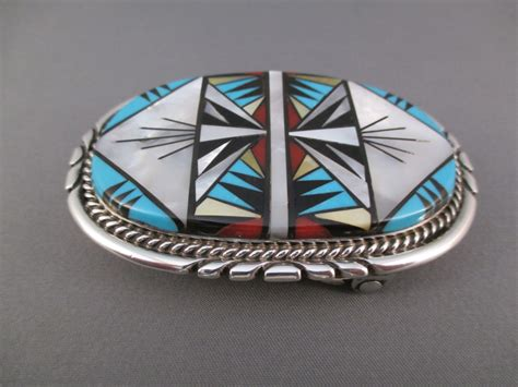 zuni inlay sterling silver belt buckle two grey