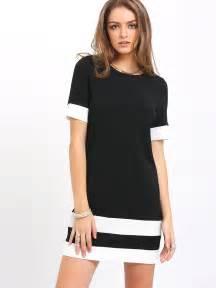 color block stripe short sleeve shift dress shein sheinside