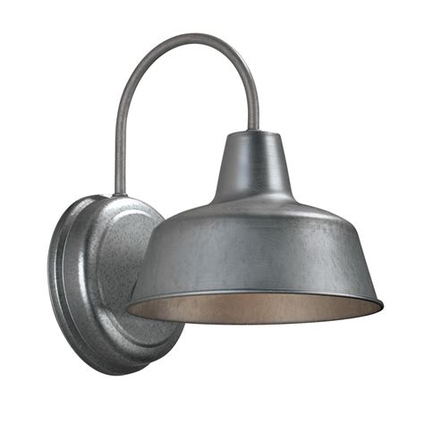 yard lighting fixtures shop portfolio ellicott 10 75 in h galvanized sky outdoor wall light at lowes