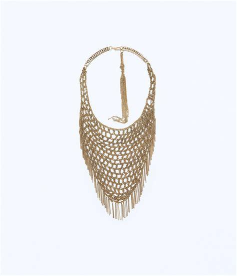 Kalung Zara Claris Necklace Grey zara triangular mesh necklace in gold golden lyst