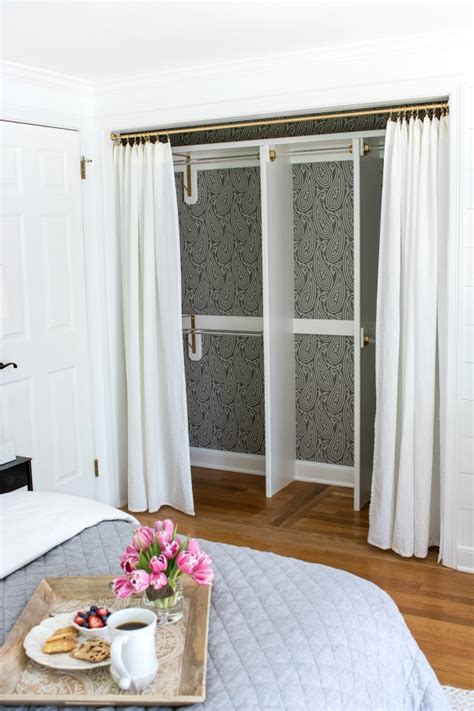 closet curtain door replacing bi fold closet doors with curtains our closet