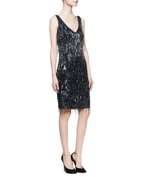 beaded cocktail dress theia sleeveless beaded fringe cocktail dress in blue