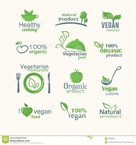 vector icons of organic natural food vegan and vegatarian