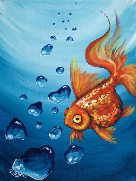acrylic painting underwater goldfish and realistic underwater bubbles step by step