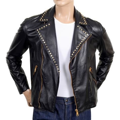 buy biker stylish golden studded leather jacket in black buy now