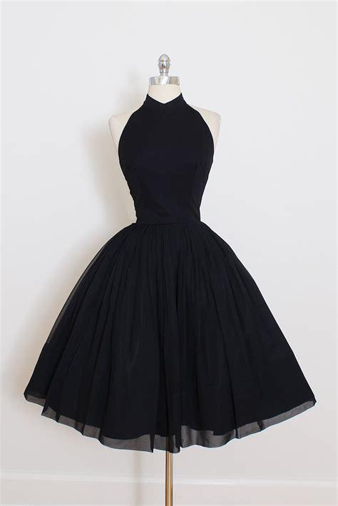 Halter Lace Dress W8255 Black vintage 50s dress 1950s vintage dress black crepe