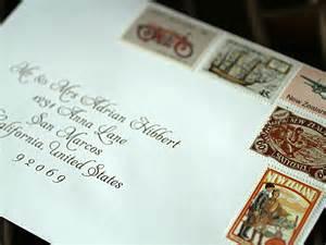 Rachelle todd vintage stamps wedding invitation envelope