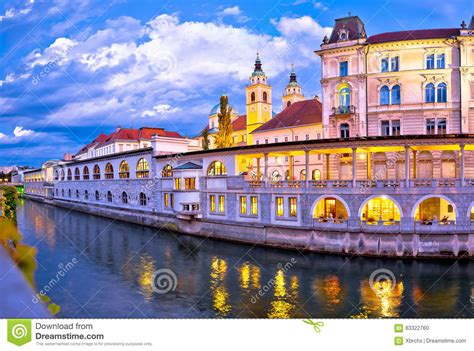 design management ljubljana ljubljana riverfront architecture evening view stock photo