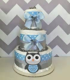 Baby Shower Owl Theme Boy by Deluxe Owl Cake In Blue And Gray Owl Baby Shower