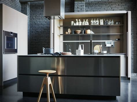 cesar arredamenti stainless steel and fenix fitted kitchen with island