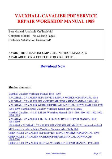Vauxhall Cavalier Service Repair Workshop Manual 1988 Pdf