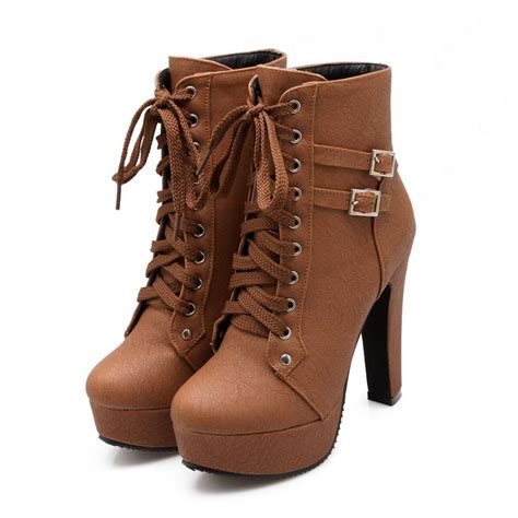 shoespie lace up chunky heel ankle boots shoespie