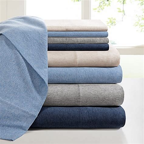 bed bath and beyond jersey sheets ink ivy heathered cotton jersey knit sheet set bed bath