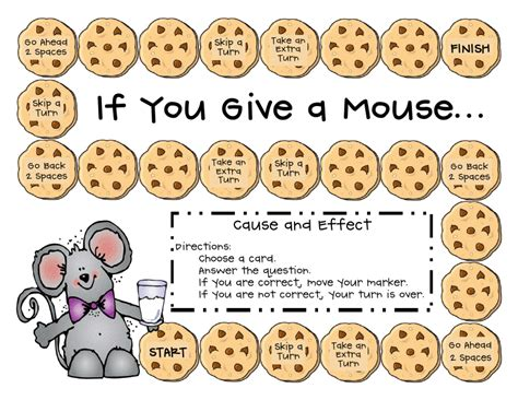 cause and effect printable card games first grade a la carte if you give a mouse