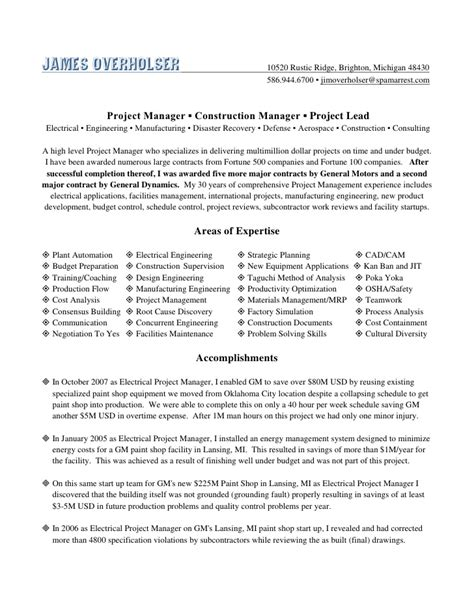 E Resume Net by Overholser Project Mgr E Resume