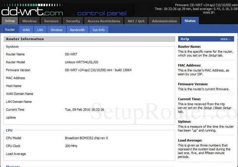 linksys dd wrt  sp screenshot router information