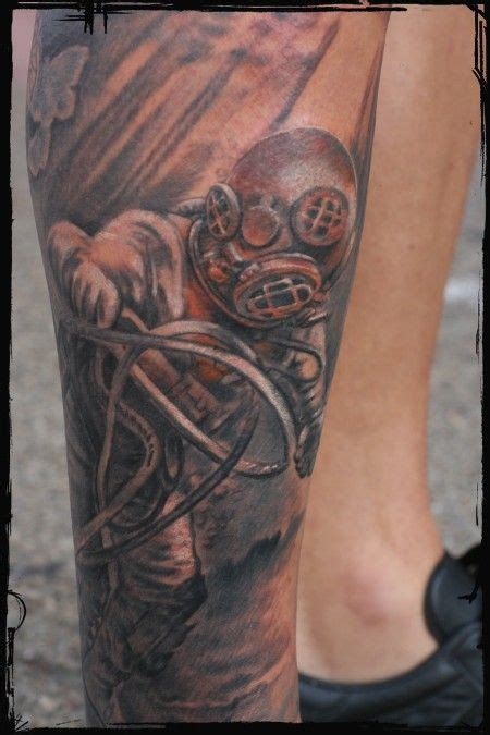 diving helmet tattoo diving scuba self contained underwater