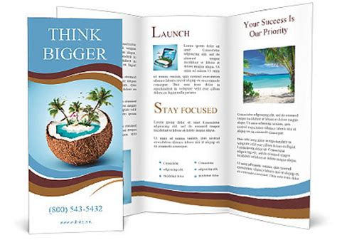 island brochure template imaginary tropical island in the coconut brochure template