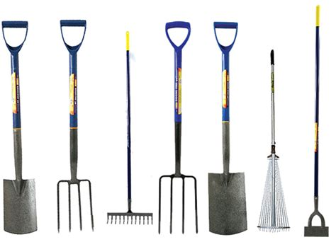 backyard tools border digging garden spade shovel fork dutch hoe